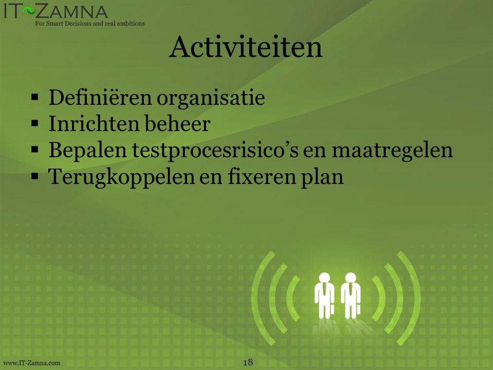 Activiteiten Definiëren organisatie Inrichten beheer