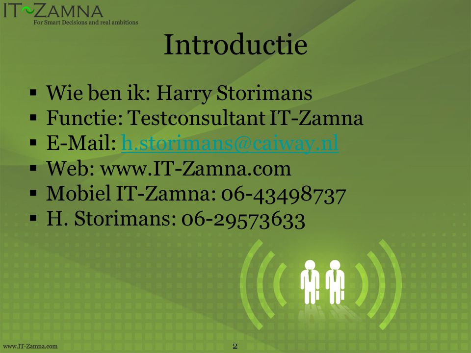 Introductie Wie ben ik: Harry Storimans