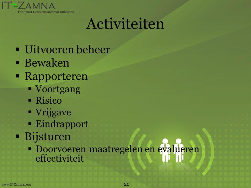 Activiteiten Uitvoeren beheer Bewaken Rapporteren Bijsturen Voortgang