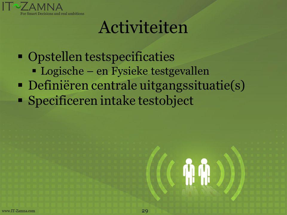 Activiteiten Opstellen testspecificaties