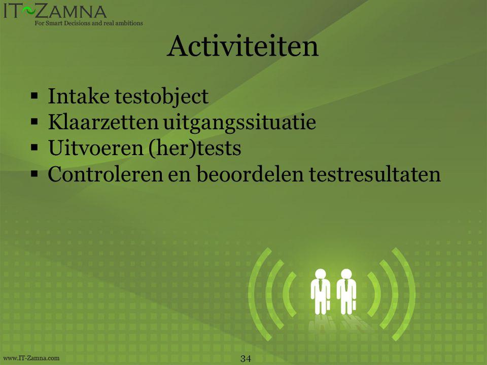 Activiteiten Intake testobject Klaarzetten uitgangssituatie