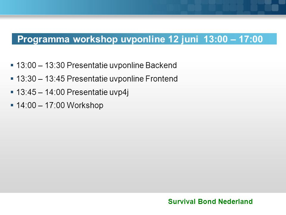 Programma workshop uvponline 12 juni 13:00 – 17:00