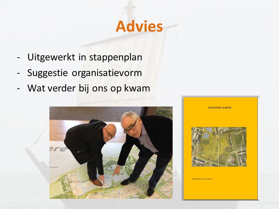 Advies Uitgewerkt in stappenplan Suggestie organisatievorm
