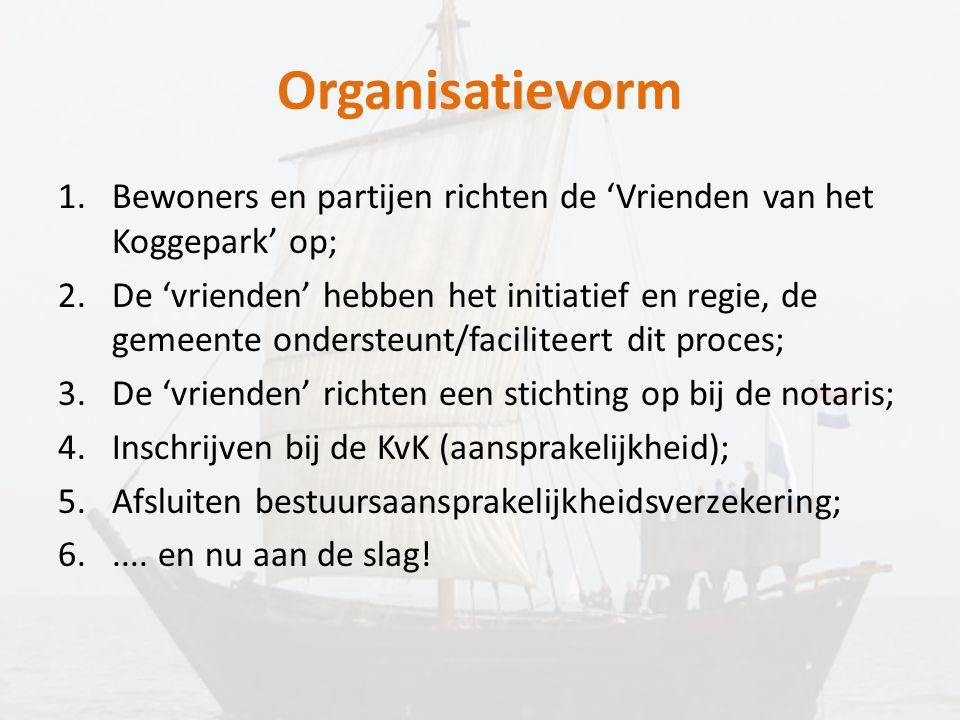 Organisatievorm Bewoners en partijen richten de 'Vrienden van het Koggepark' op;