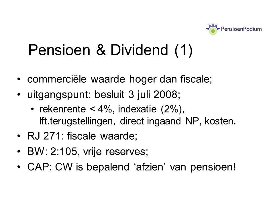 Pensioen & Dividend (1) commerciële waarde hoger dan fiscale;