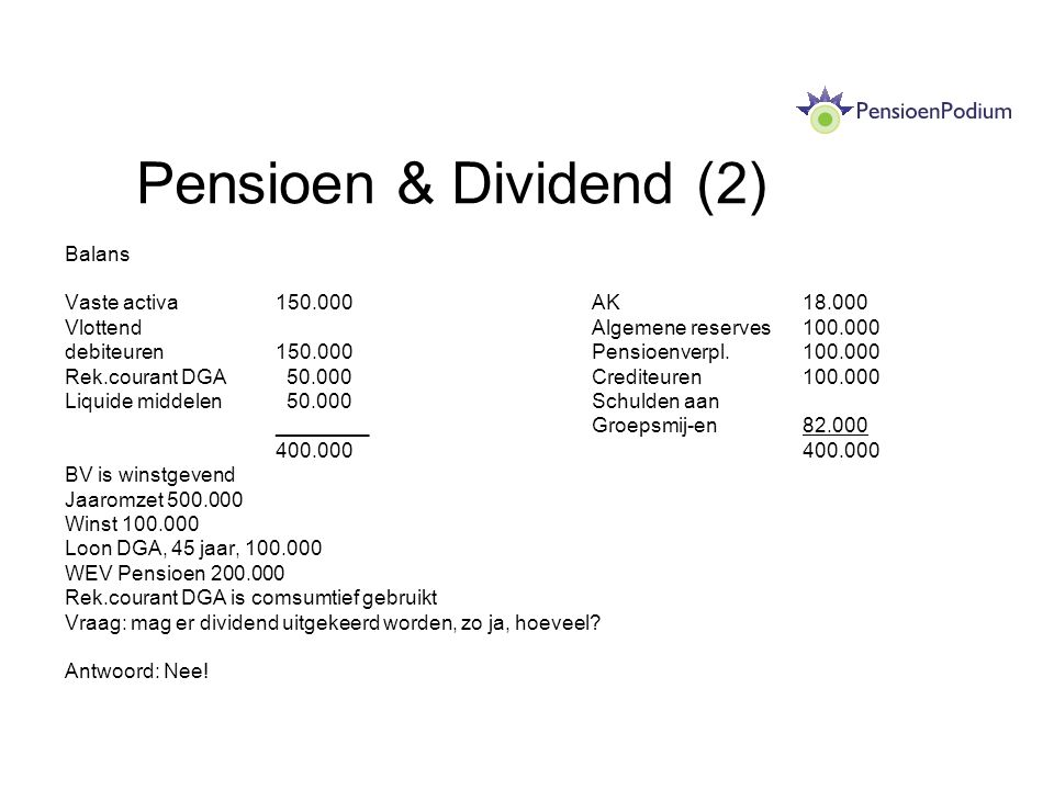 Pensioen & Dividend (2) Balans Vaste activa 150.000 AK 18.000