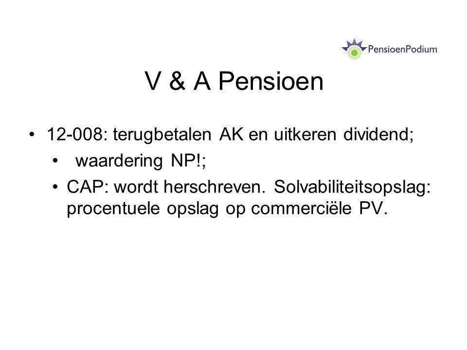 V & A Pensioen 12-008: terugbetalen AK en uitkeren dividend;