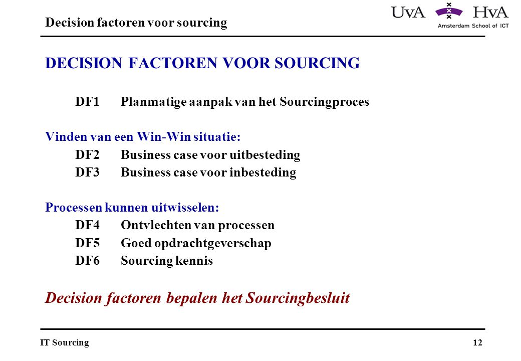 Decision factoren voor sourcing