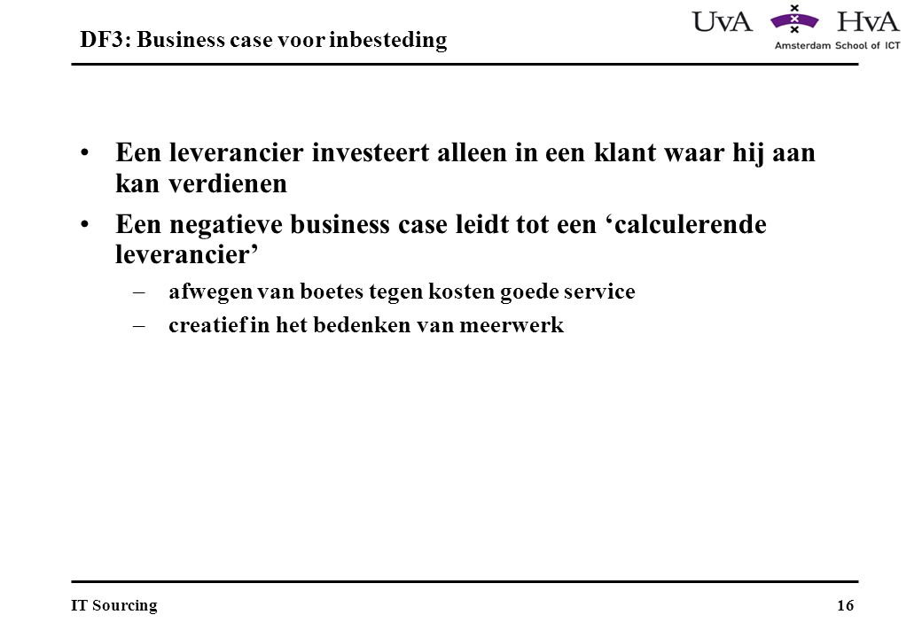 DF3: Business case voor inbesteding