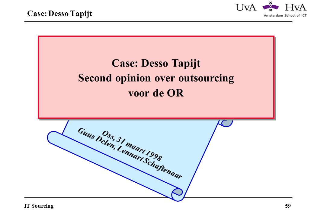 Case: Desso Tapijt Second opinion over outsourcing voor de OR