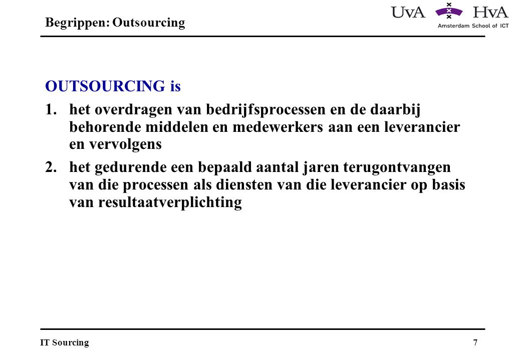 Begrippen: Outsourcing