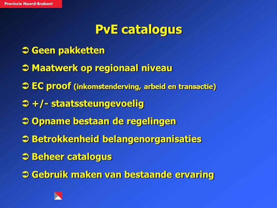 PvE catalogus Geen pakketten Maatwerk op regionaal niveau