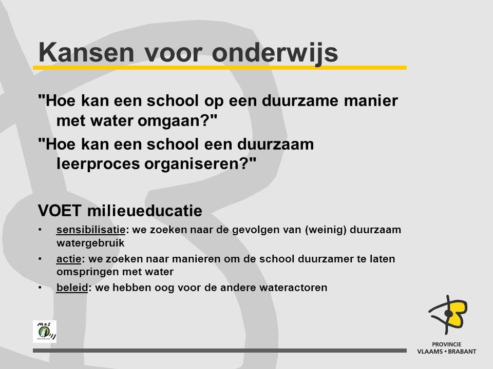 Kansen voor onderwijs Hoe kan een school op een duurzame manier met water omgaan Hoe kan een school een duurzaam leerproces organiseren