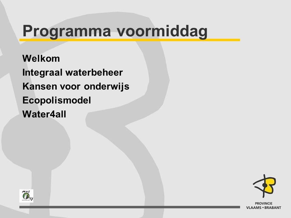Programma voormiddag Welkom Integraal waterbeheer