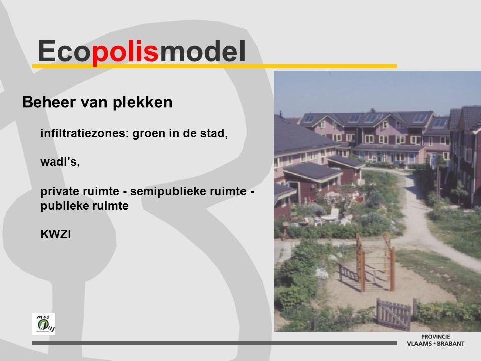 Ecopolismodel Beheer van plekken infiltratiezones: groen in de stad, wadi s, private ruimte - semipublieke ruimte - publieke ruimte KWZI.