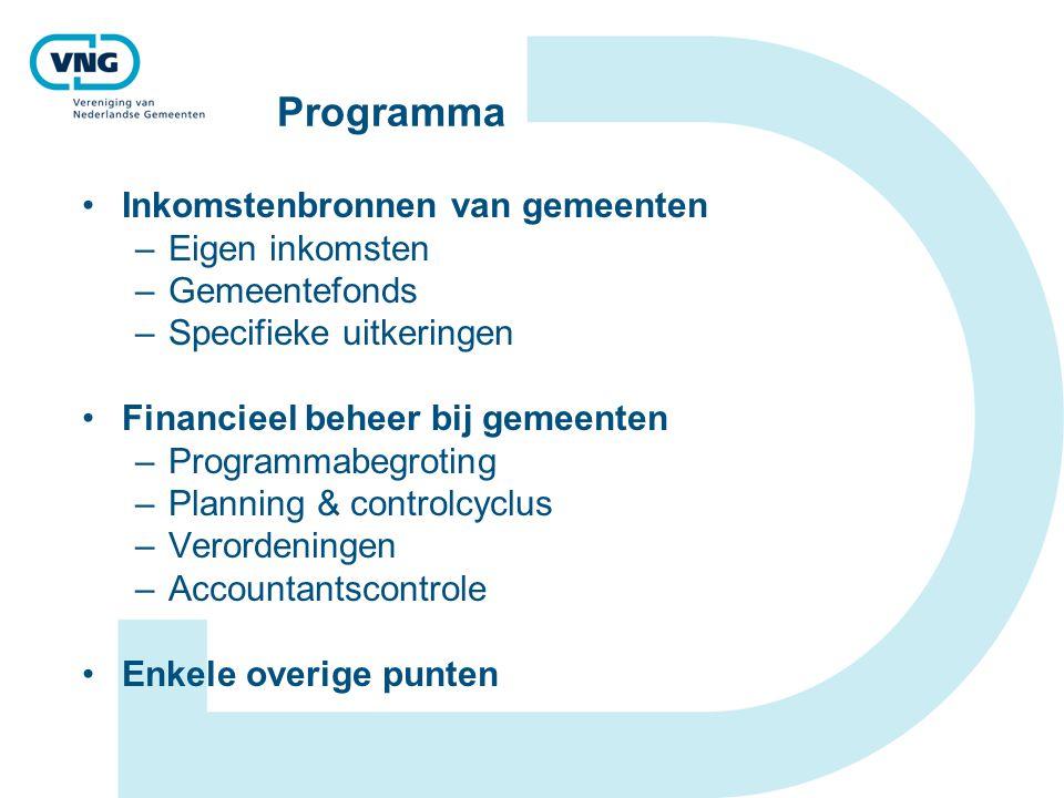 Programma Inkomstenbronnen van gemeenten Eigen inkomsten Gemeentefonds