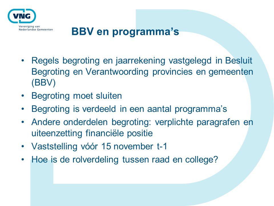 BBV en programma's Regels begroting en jaarrekening vastgelegd in Besluit Begroting en Verantwoording provincies en gemeenten (BBV)