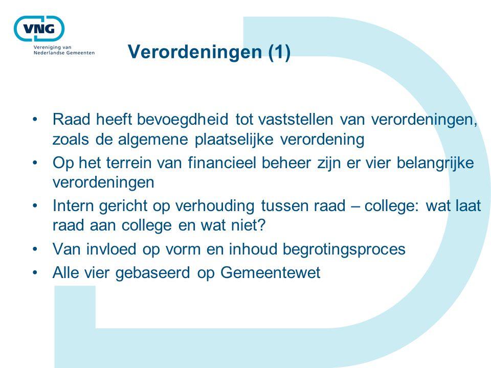 Verordeningen (1) Raad heeft bevoegdheid tot vaststellen van verordeningen, zoals de algemene plaatselijke verordening.