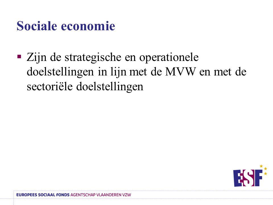 Sociale economie Zijn de strategische en operationele doelstellingen in lijn met de MVW en met de sectoriële doelstellingen.