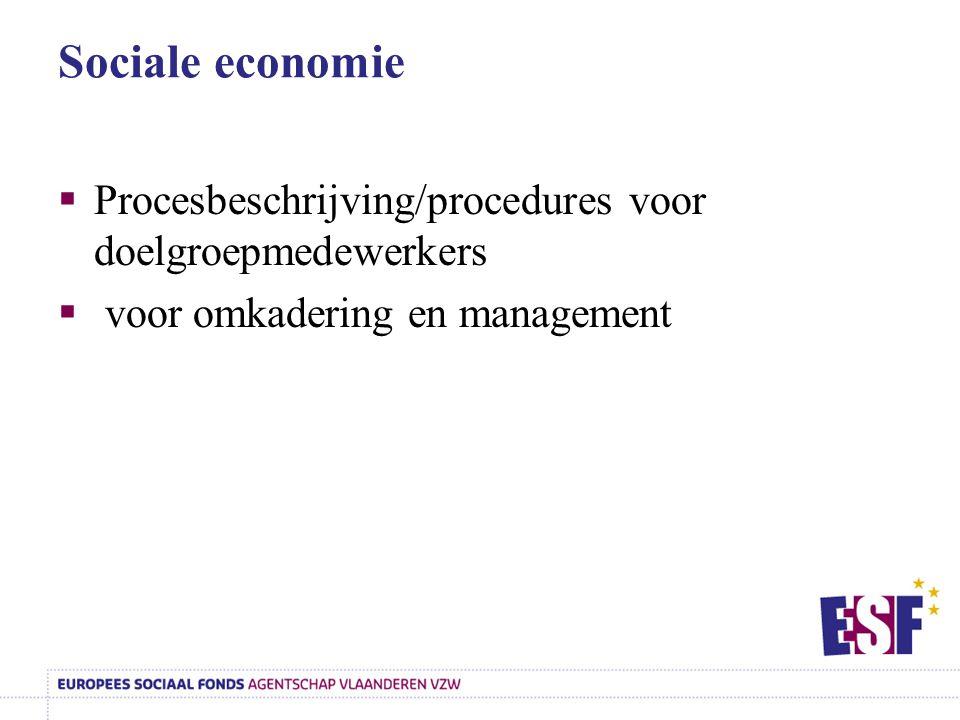 Sociale economie Procesbeschrijving/procedures voor doelgroepmedewerkers.
