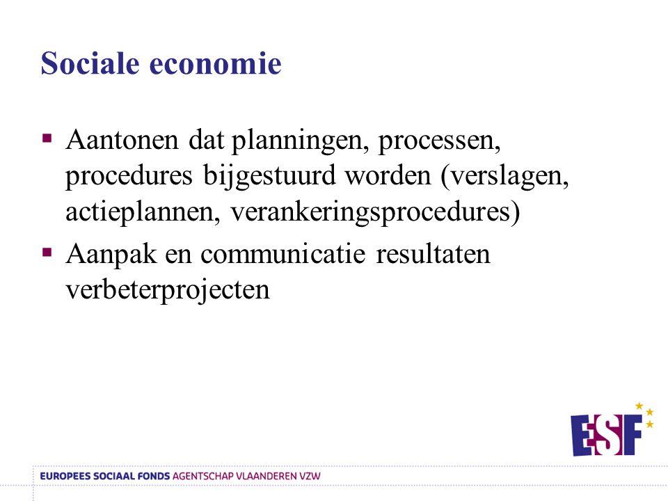 Sociale economie Aantonen dat planningen, processen, procedures bijgestuurd worden (verslagen, actieplannen, verankeringsprocedures)
