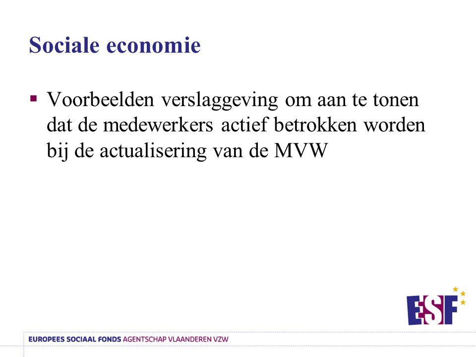 Sociale economie Voorbeelden verslaggeving om aan te tonen dat de medewerkers actief betrokken worden bij de actualisering van de MVW.