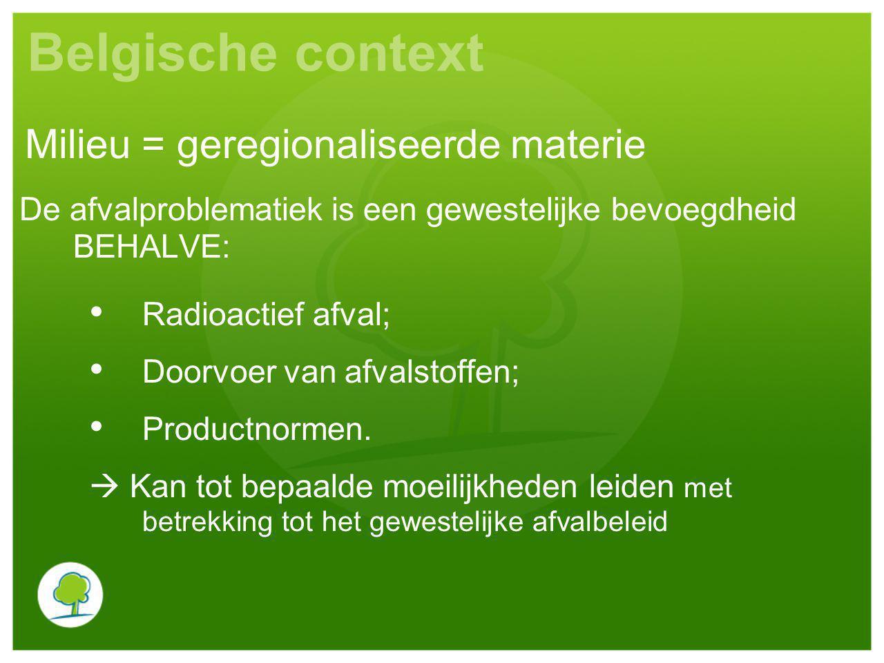 Belgische context Milieu = geregionaliseerde materie