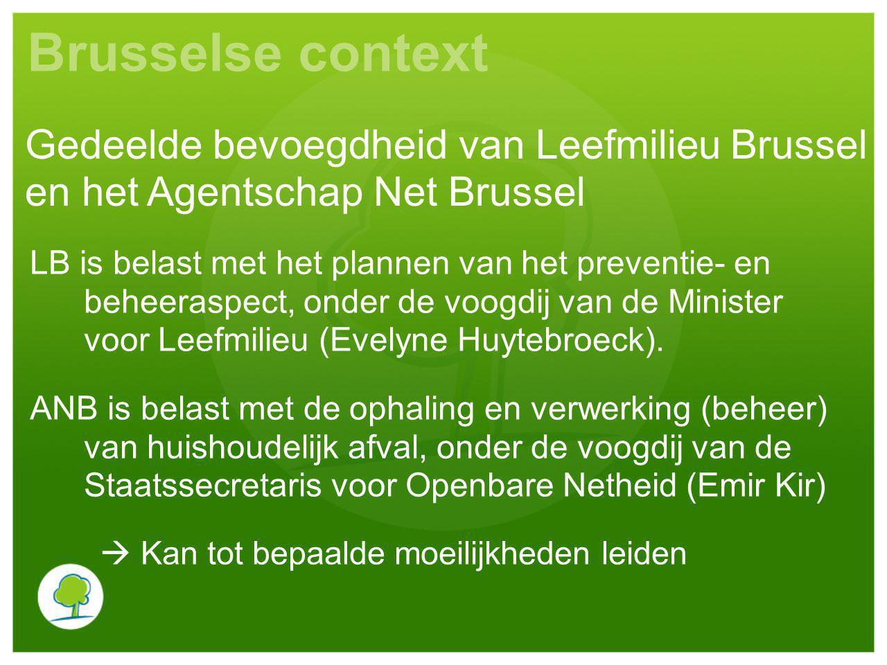 Brusselse context Gedeelde bevoegdheid van Leefmilieu Brussel en het Agentschap Net Brussel.