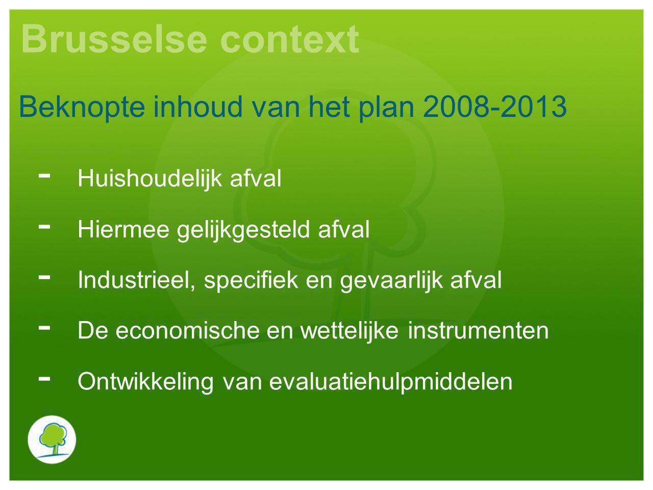 Brusselse context Beknopte inhoud van het plan 2008-2013