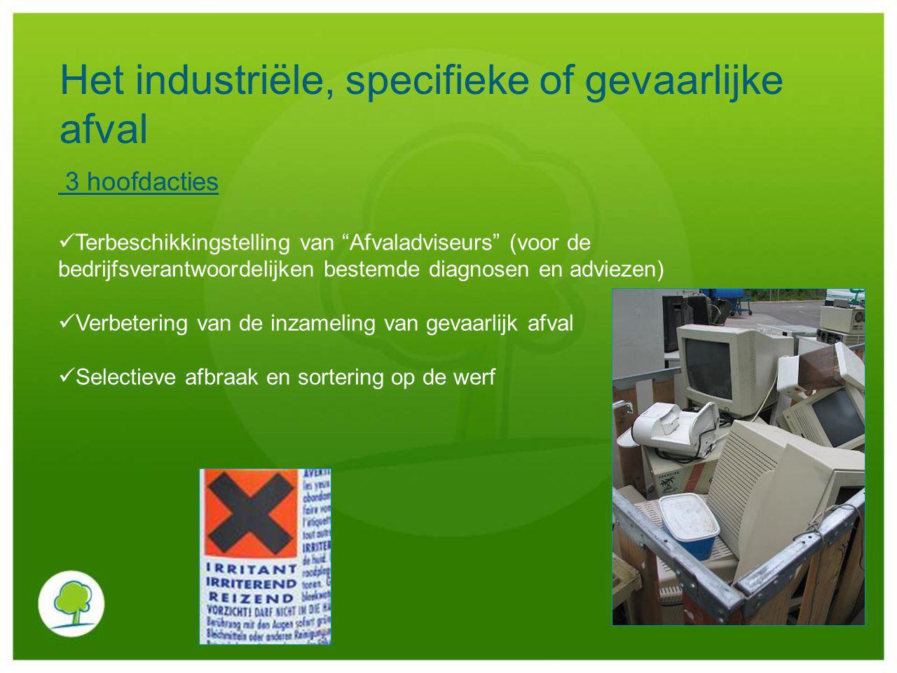 Het industriële, specifieke of gevaarlijke afval