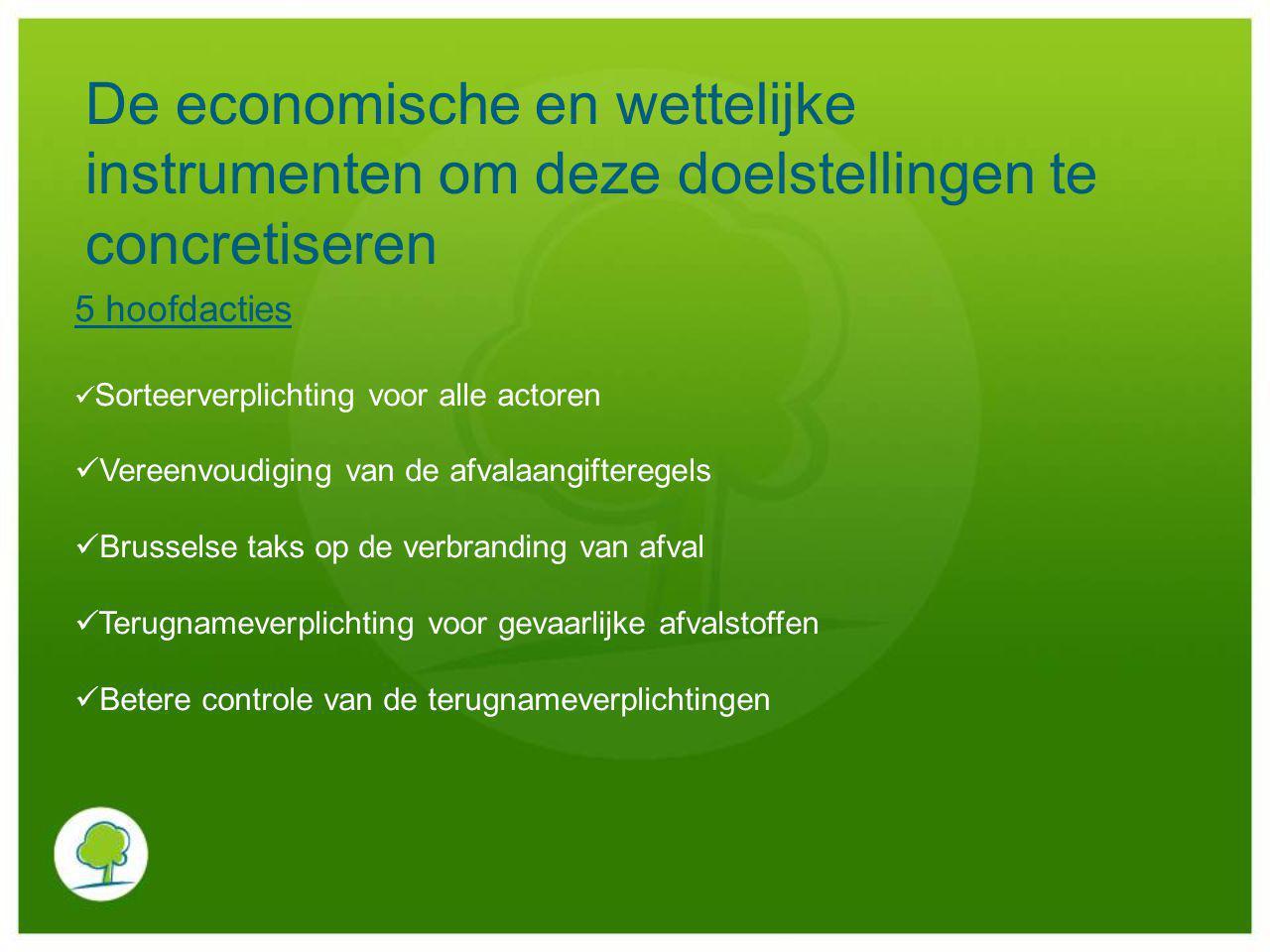 De economische en wettelijke instrumenten om deze doelstellingen te concretiseren