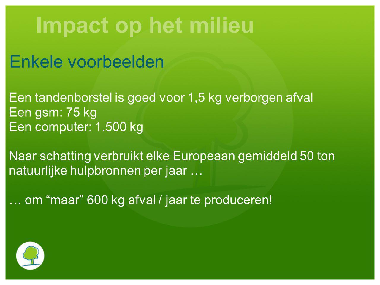 Impact op het milieu Enkele voorbeelden