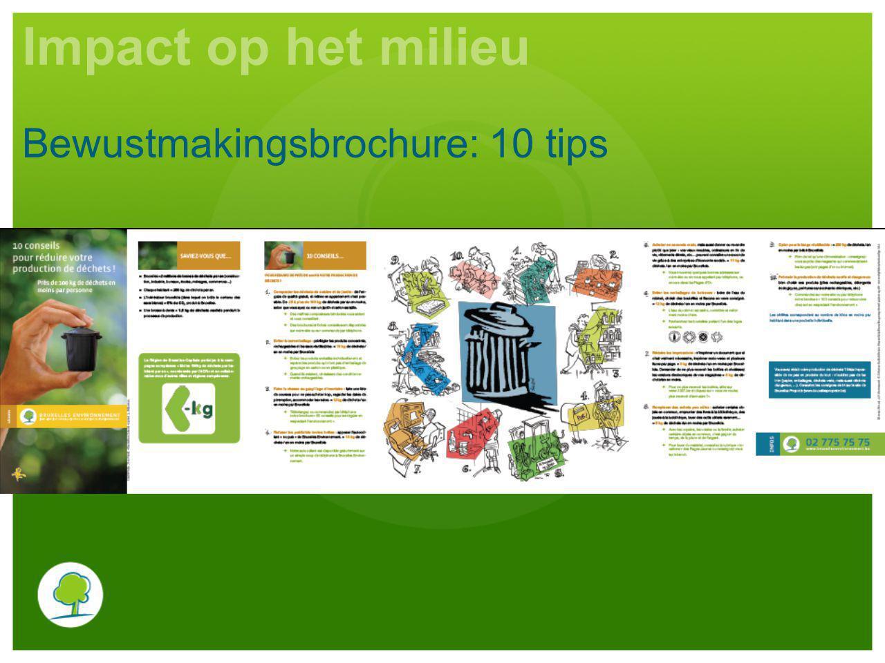 Impact op het milieu Bewustmakingsbrochure: 10 tips