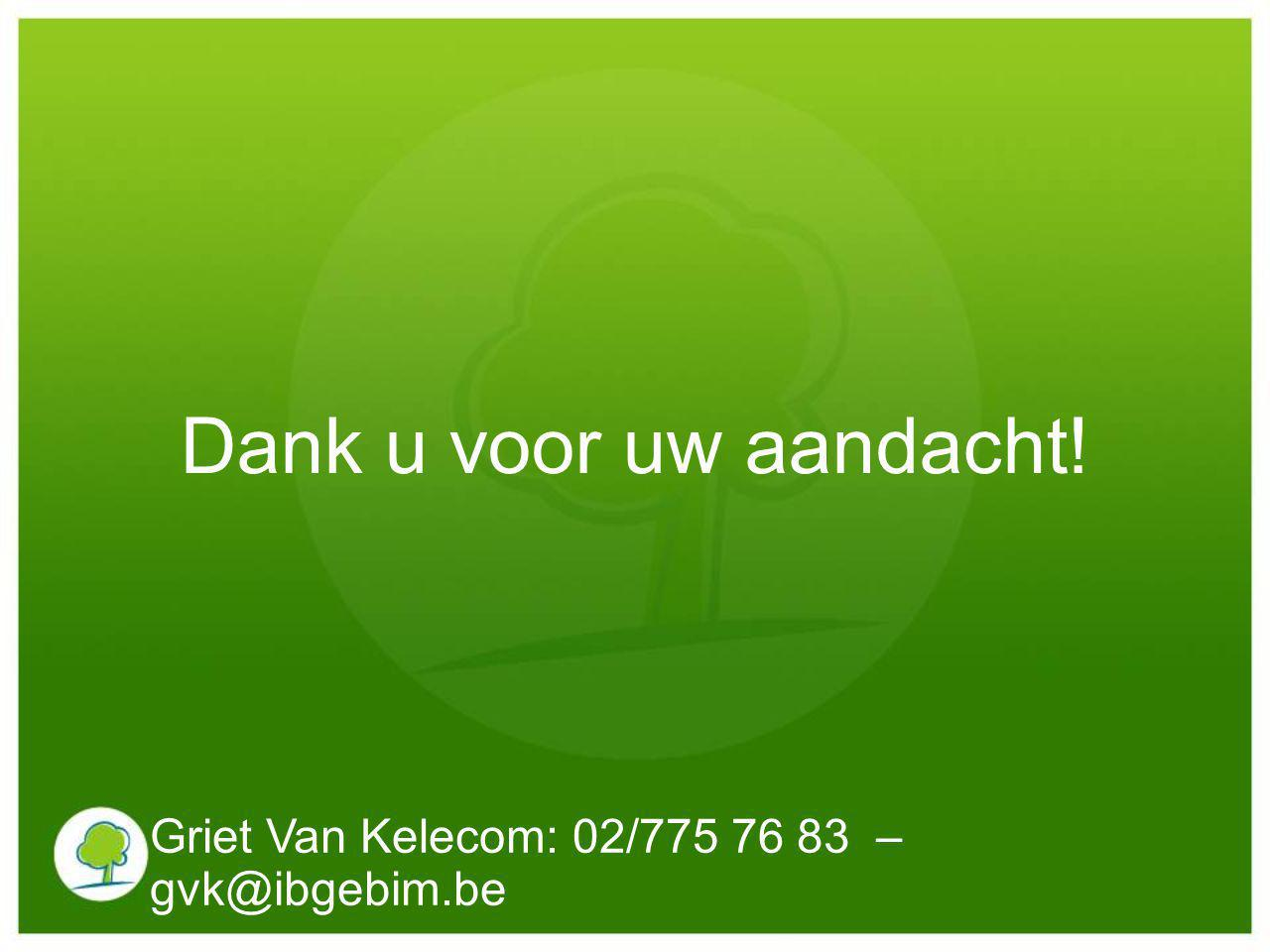 Dank u voor uw aandacht! Griet Van Kelecom: 02/775 76 83 – gvk@ibgebim.be