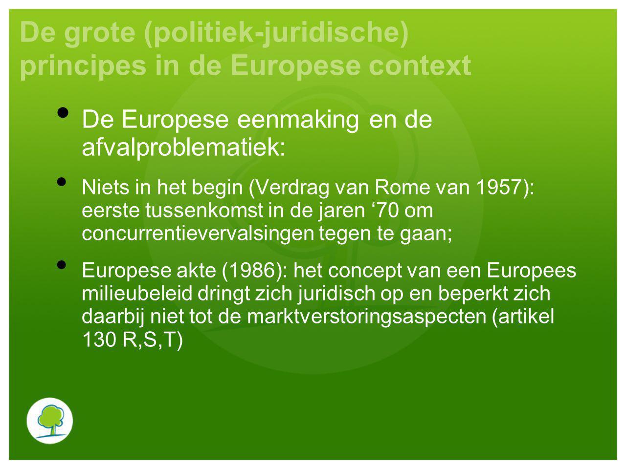 De grote (politiek-juridische) principes in de Europese context