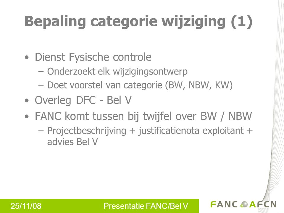 Bepaling categorie wijziging (1)