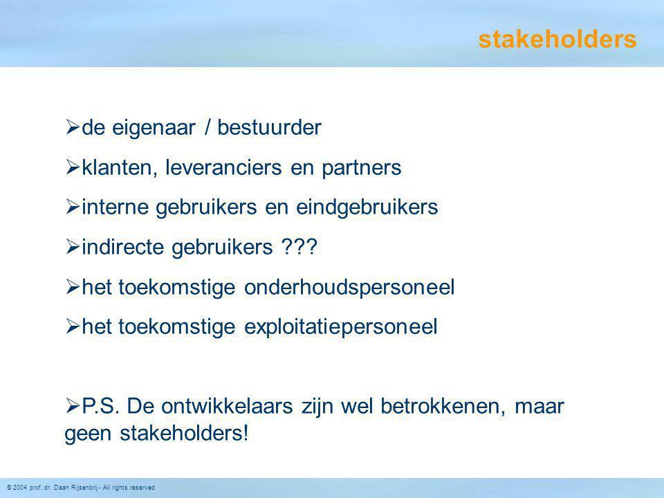 stakeholders de eigenaar / bestuurder