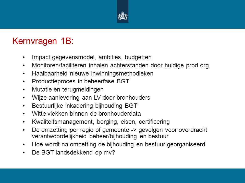 Kernvragen 1B: Impact gegevensmodel, ambities, budgetten