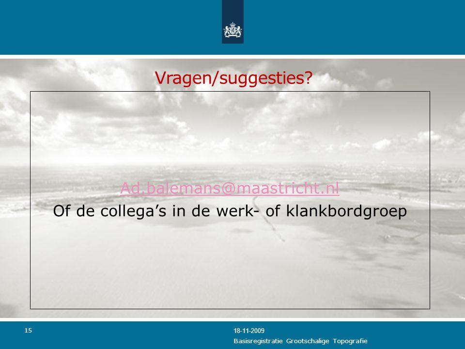 Vragen/suggesties Ad.balemans@maastricht.nl Of de collega's in de werk- of klankbordgroep 18-11-2009.