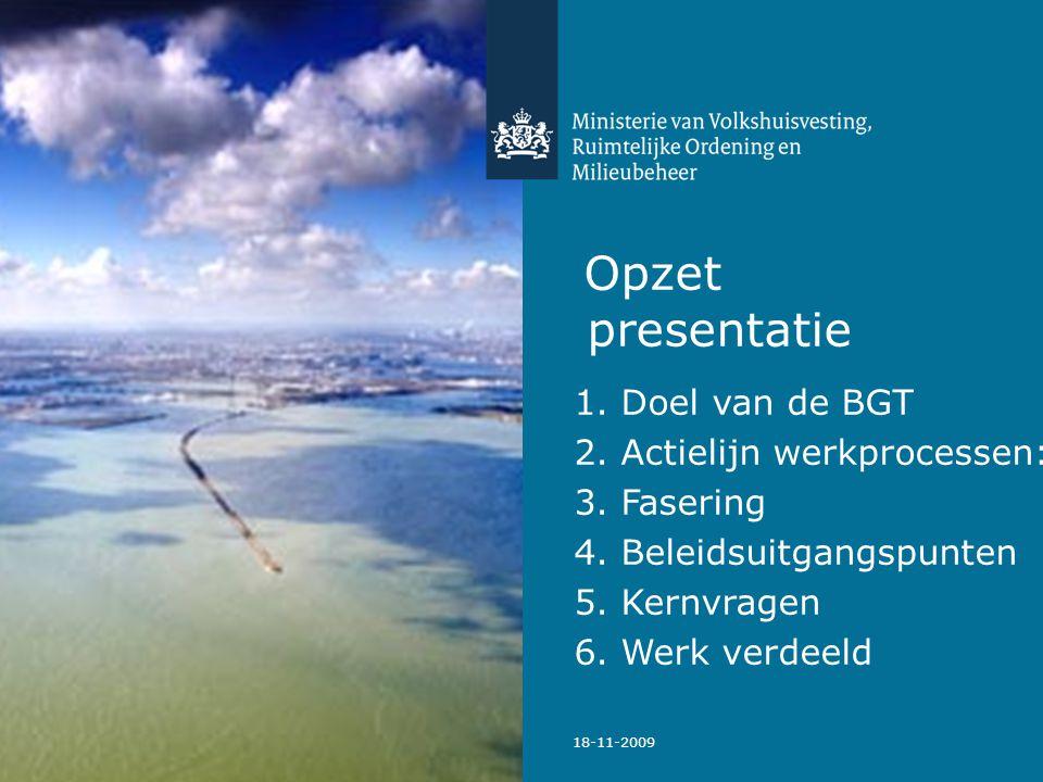 Opzet presentatie 1. Doel van de BGT 2. Actielijn werkprocessen: