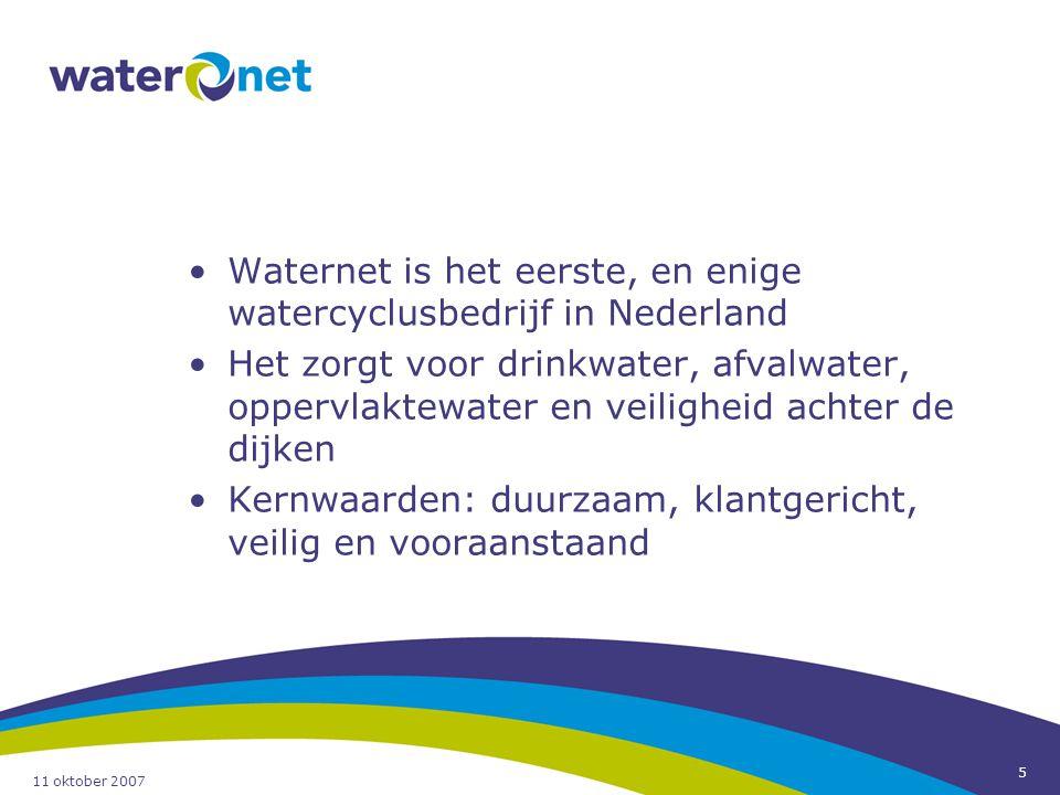 Waternet is het eerste, en enige watercyclusbedrijf in Nederland