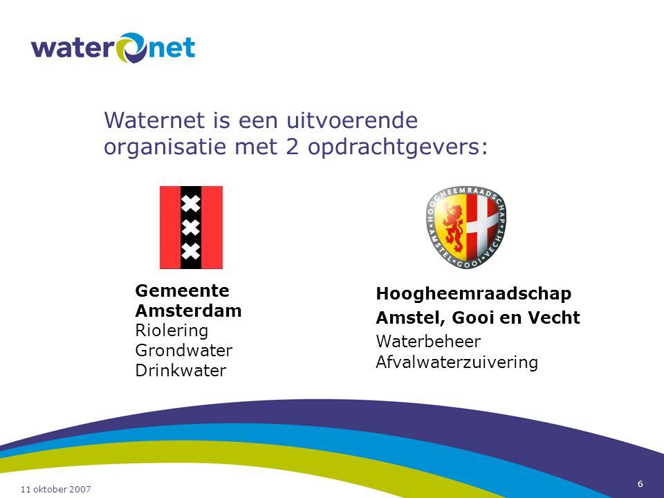 Waternet is een uitvoerende organisatie met 2 opdrachtgevers: