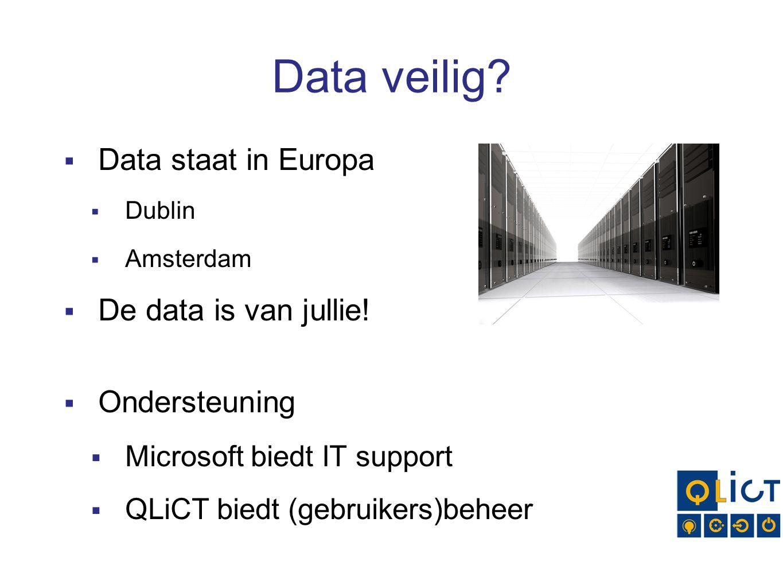 Data veilig Data staat in Europa De data is van jullie! Ondersteuning