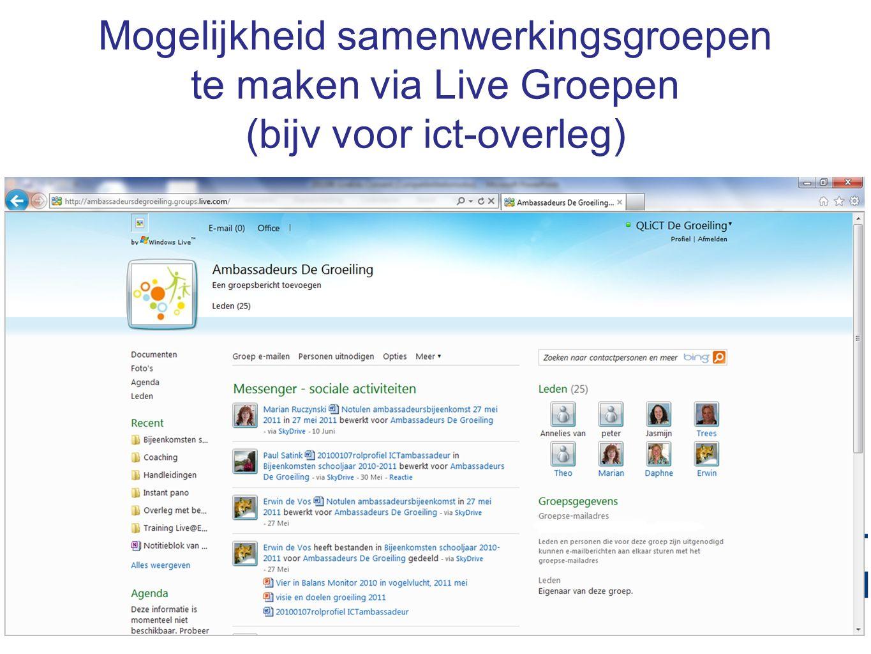 Mogelijkheid samenwerkingsgroepen te maken via Live Groepen (bijv voor ict-overleg)