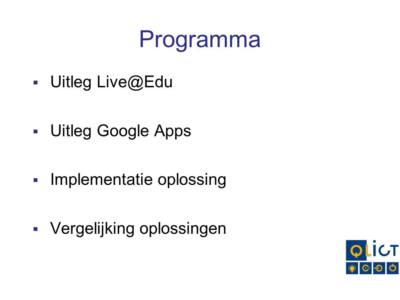 Programma Uitleg Live@Edu Uitleg Google Apps Implementatie oplossing