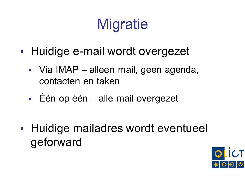 Migratie Huidige e-mail wordt overgezet