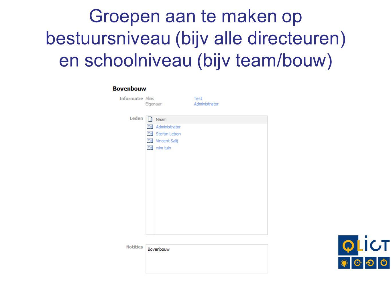Groepen aan te maken op bestuursniveau (bijv alle directeuren) en schoolniveau (bijv team/bouw)