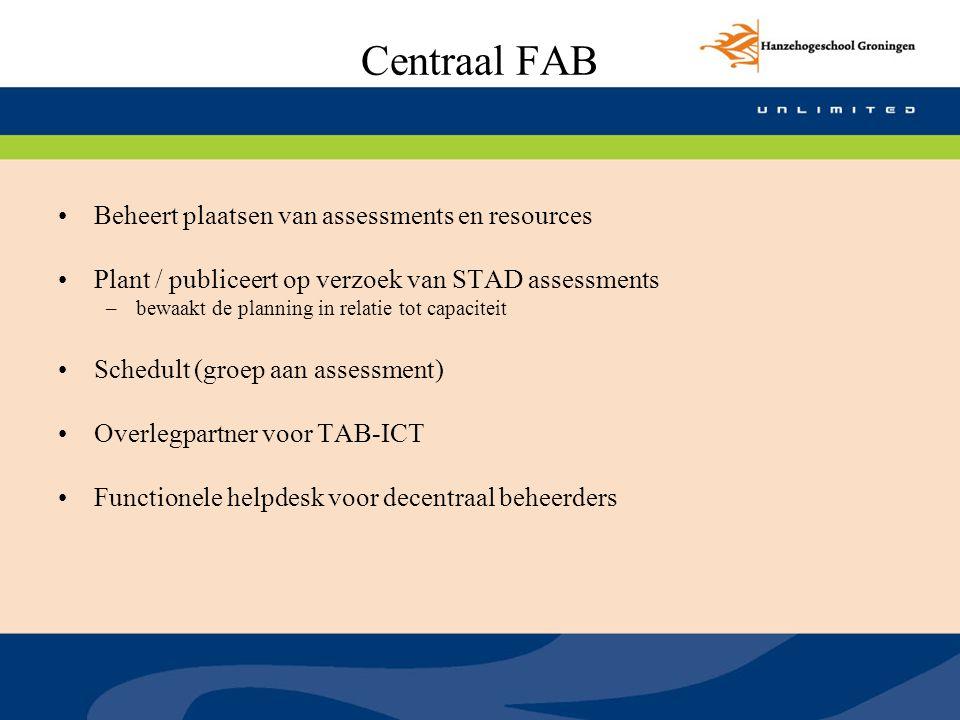 Centraal FAB Beheert plaatsen van assessments en resources