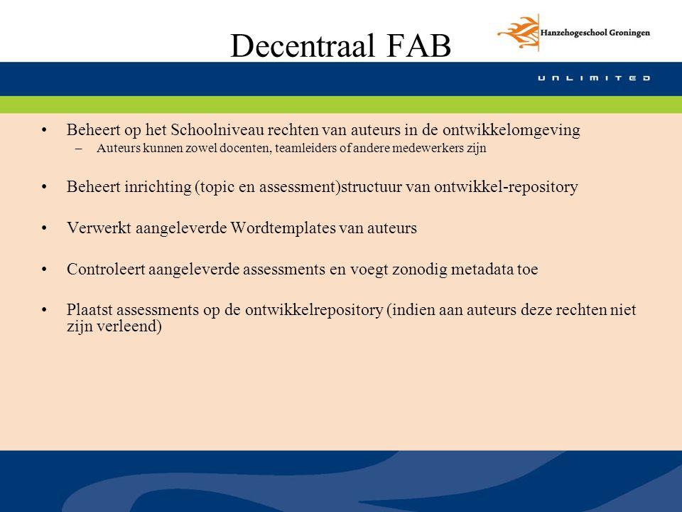 Decentraal FAB Beheert op het Schoolniveau rechten van auteurs in de ontwikkelomgeving.
