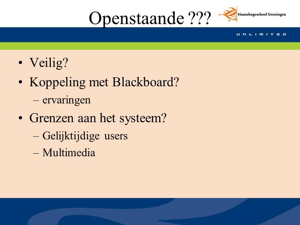 Openstaande Veilig Koppeling met Blackboard